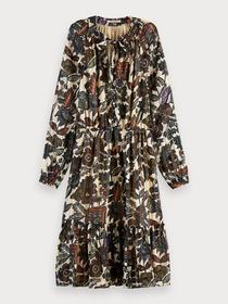Midi dress in drapey jacquard strip