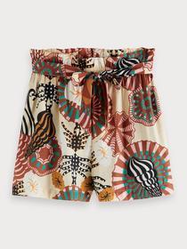 High waisted printed viscose shorts