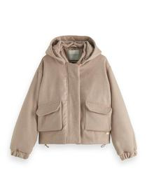 Hooded short-length jacket with Rep
