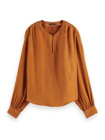 Pleated shoulder Cupro top