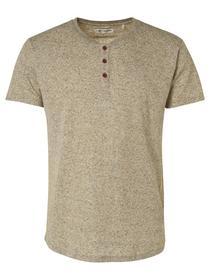 Melange Rib Granddad Collar T-shirt