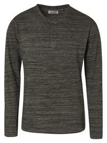 T-Shirt Granddad Collar Long Sleeve Melange