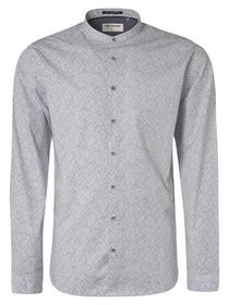 Shirt Long Sleeve Granddad Collar All Over Printed stretch