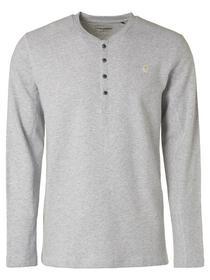 T-Shirt Long Sleeve Button Closure Melange Rib