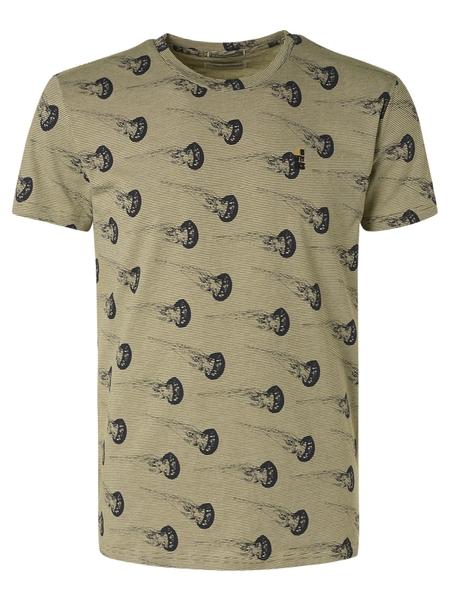 T-Shirt Crewneck Allover Printed Yarn Dyed Stripe