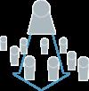 Eine stark vereinfacht dargestellte Person steht oberhalb von weiteren kleineren Personen. Von ihr geht ein Pfeil in Richtung der anderen Figuren aus.