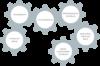 Zusammenhängende Zahnräder im leeren Raum. Sie sind mit den Begriffen Lernplattform, Lernumgebung, individualisiertes Schulbuch, enhanced eBook, digital-multimediales Schulbuch und  gedrucktes, statisches Buch beschriftet.