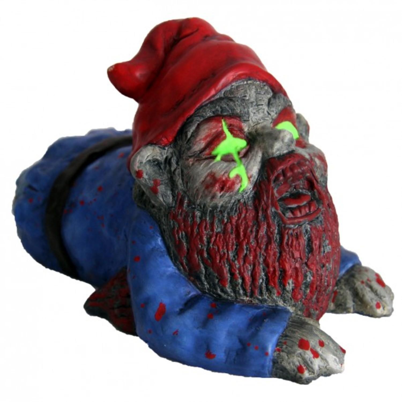 Zombie Gartenzwerg Crawler Krabbler Zwerg Gnom Horror Halloween Leuchtaugen