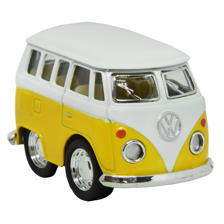 Modellauto Volkswagen VW T1 Bus Comic Style in blau mit Rückziehmotor 1960