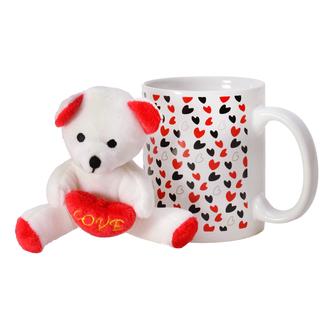 Kaffeebecher Liebesherzen mit Plüsch-Teddy Kaffeetasse Herzen der Liebe Love