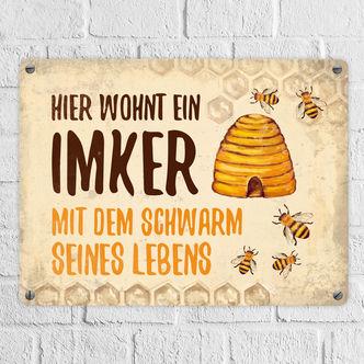 Schild Zuhause ist aus Schiefer 22x16 Imker Imkerei wo meine Bienen sind