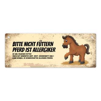 Achtung Metallschild mit Pferde Motiv und Spruch Pferd beisst Blechschild