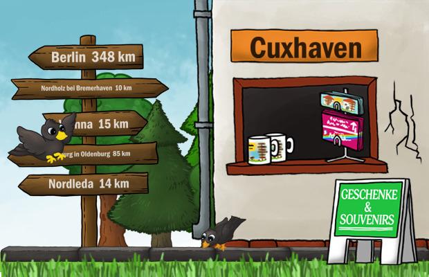 Design Ortsschild Städtetasse Cuxhaven
