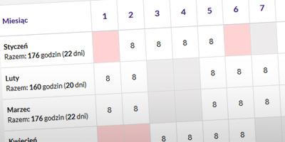 Dzięki nowej funkcji będzie można przeglądać czas pracy w ujęciu rocznym.