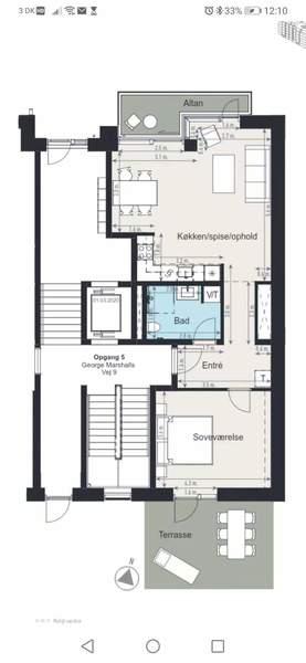 Spritnyt 2-3 værelse lejlighed, med 15 kvm terrasse og 7 kvm altan