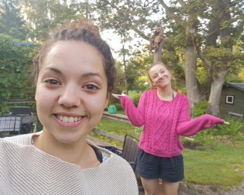 Two female friends looking for an apartment or rooms to rent