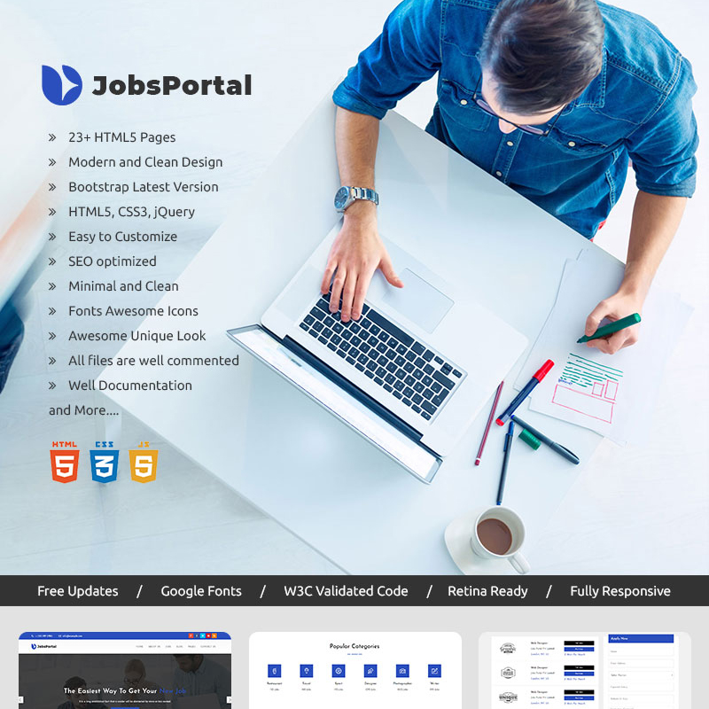 Jobs Portal - Online Jobs Search Website Template