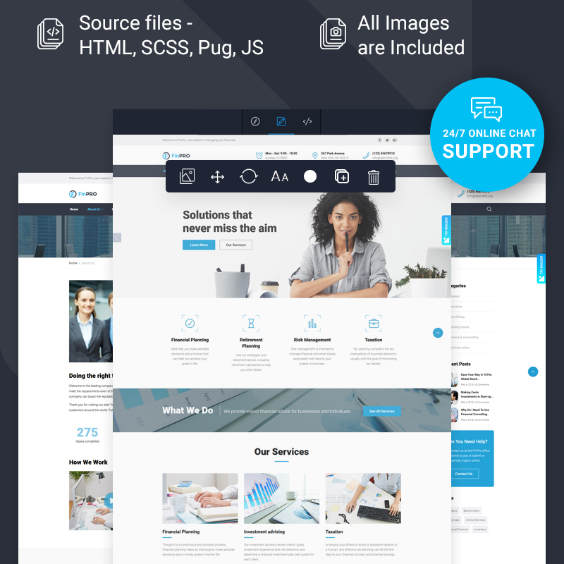 Financial Advisor Multipage HTML Template with Novi builder