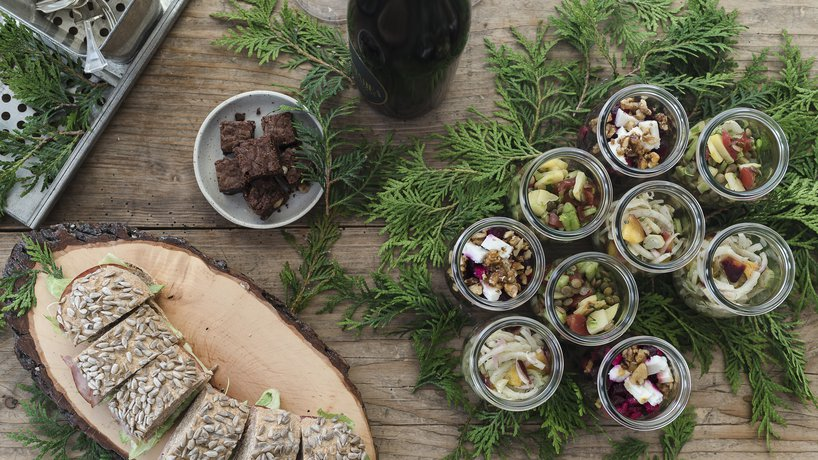 lunchbag Catering Wein & Salat