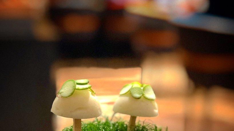Chefs Table von Jonas Messer, Spargel-Sorbet im Garten