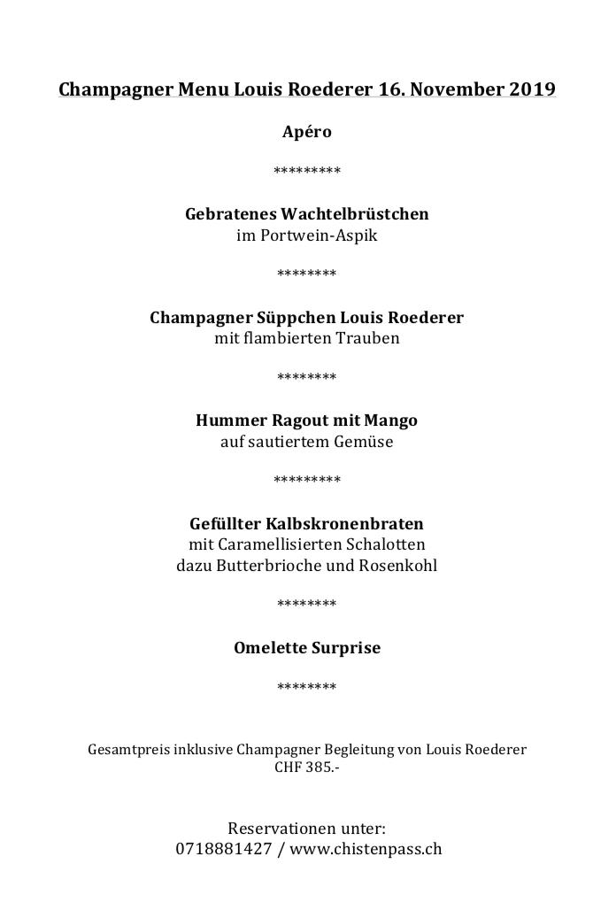 Champagner Menu Louis Roederer