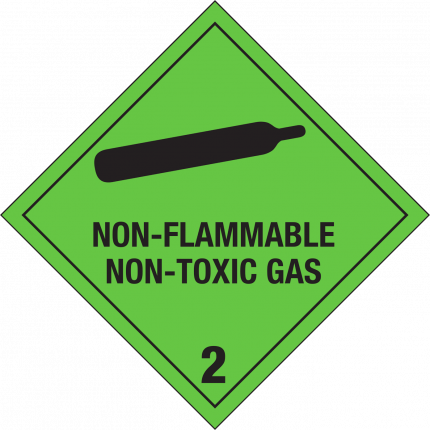 2.2, NON-FLAMMABLE / NON-TOXIC GAS, 250x250mm