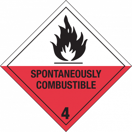 4.2, SPONTANEOUSLY COMBUSTIBLE, 250x250mm
