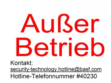 """DIN A4 - 8x 99,1x67,7mm - Weiss - Ablösbar - """"Außer Betrieb"""""""