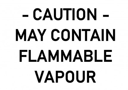 DIN A4 - CAUTION - MAY CONTAIN FLAMMABLE VAPOUR, 297x210mm