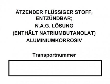 DIN A4 - ÄTZENDER FLÜSSIGER STOFF, ENTZÜNDBAR; N.A.G. LÖSUNG (ENTHÄLT NATRIUMBUTANOLAT) ALUMINIUMKOR