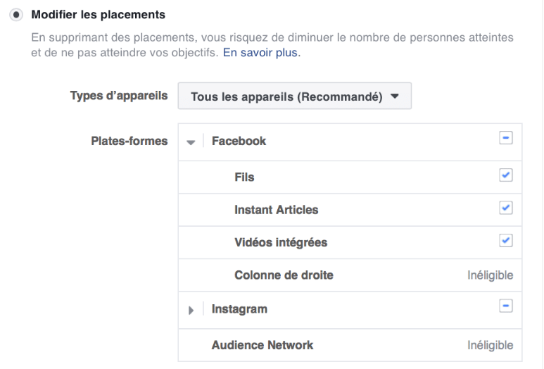 Placements Facebook