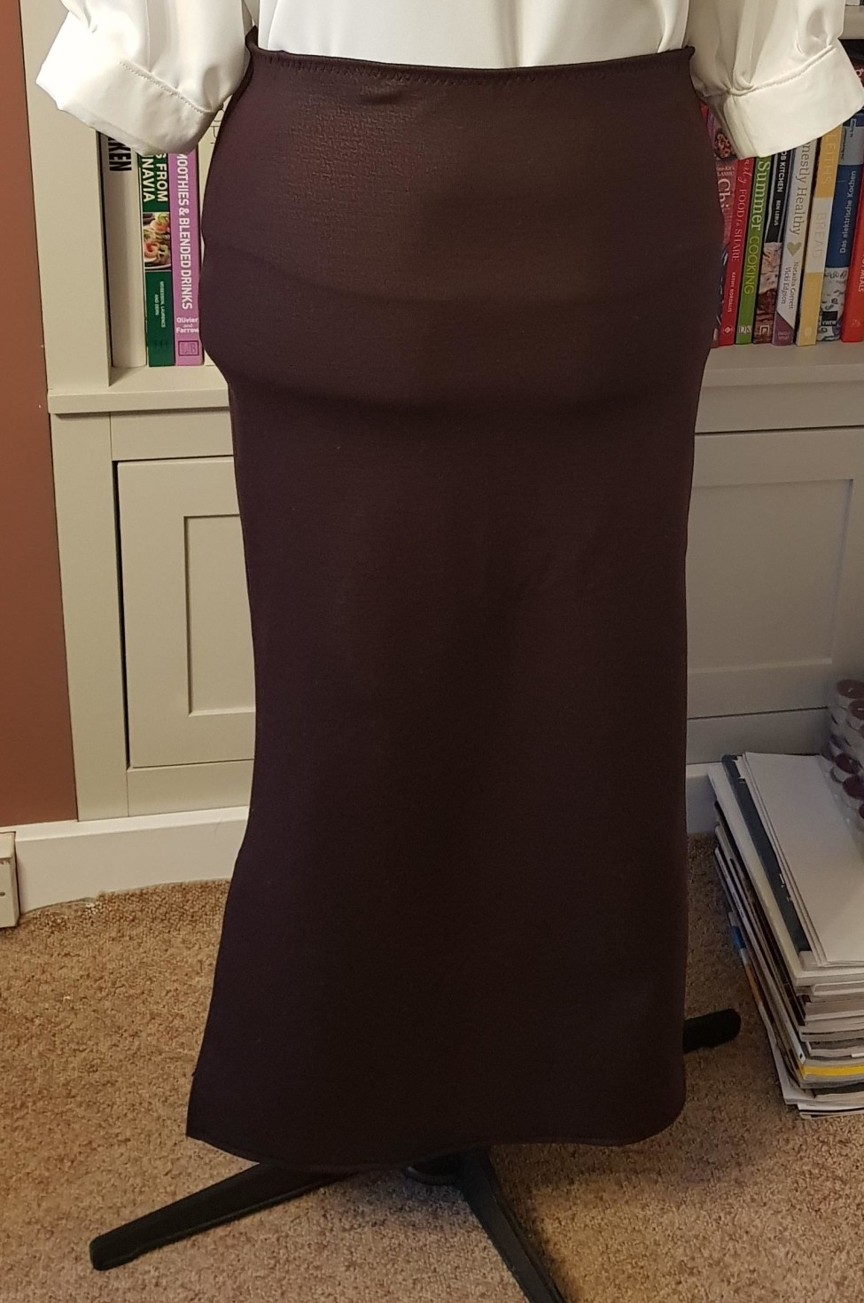 The finished product. You can see there is a lot of stretch in the fabric, perfect for someone like me who has wide hips.