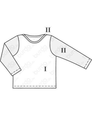Schnittmuster inkl. Step-by-Step Baby-Pullover Baby 2018 #11B - Techn. Zeichnung