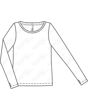 Schnittmuster inkl. Step-by-Step Langarmshirt mit Cutout 01/2018 #106 - Techn. Zeichnung