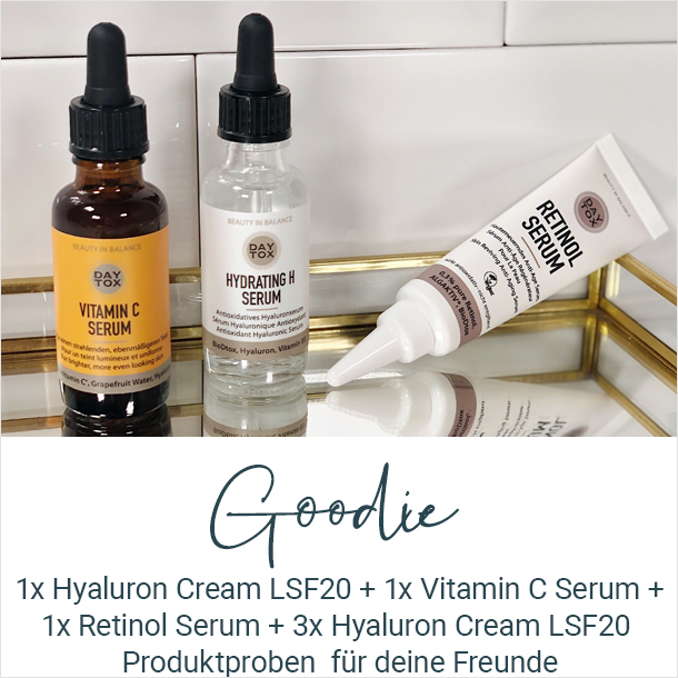 Die Produkttester erhalten 1x Hyaluron Cream LSF20 + 1x Vitamin C Serum + 1x Retinol Serum + 3x Hyaluron Cream LSF20 Produktproben