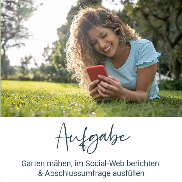 Aufgabe: Garten mähen, im Social-Web berichten & Abschlussumfrage ausfüllen