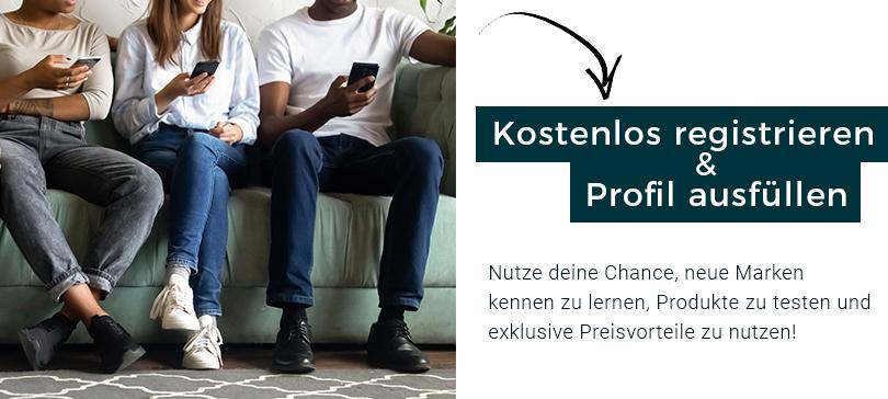 kostenlos registrieren und Profil anlegen