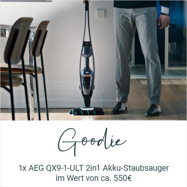 Kostenlos: 1x AEG QX9-1-ULT Akku-Staubsauger (UVP 549,95 €)