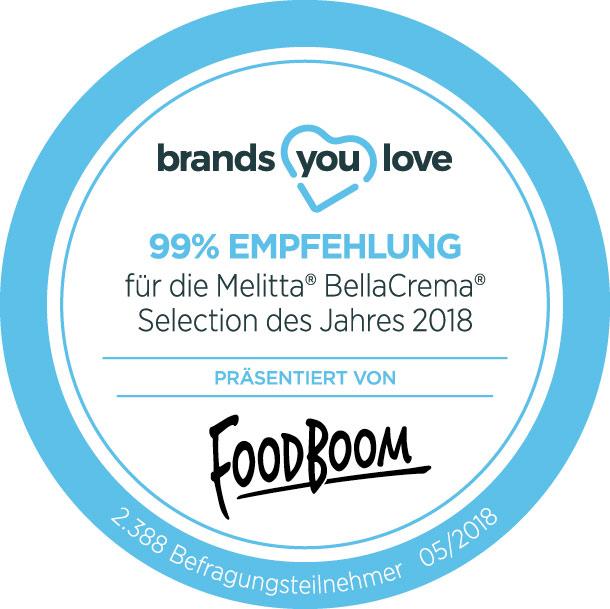 Das brands you love-Logo für die Melitta® BellaCrema® Selection des Jahres 2018