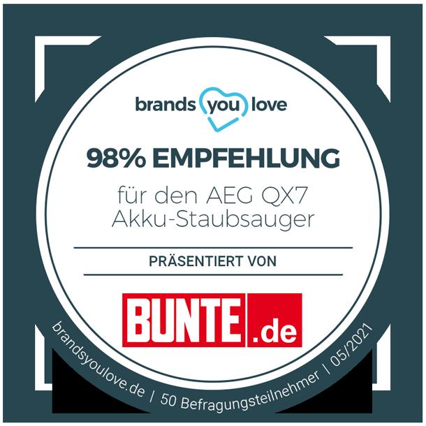 98% Empfehlung: brands you love Siegel für AEG QX7