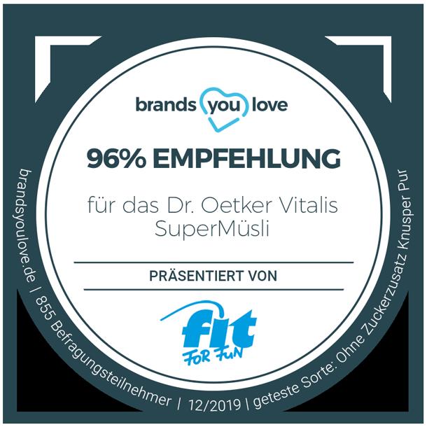 99% Empfehlung für Dr. Oetker Vitalis SuperMüsli ohne Zuckerzusatz Knusper Pur