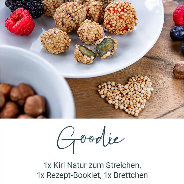 Goodie: 1x Kiri Natur zum Streichen, 1x Rezept-Booket. 1x Brettchen