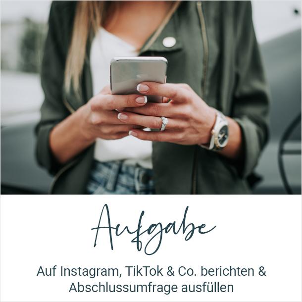 Aufgabe: Auf Instagram, TikTok & Co. berichten und Abschlussumfrage ausfüllen