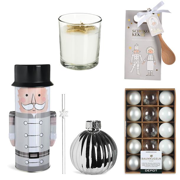 Backmischung Schokokekse, Keksdose Nussknacker, Trinkgefäß Kugel, Trinkhalm Snowflake, Kerze im Glas Goldstern, Kugelbox