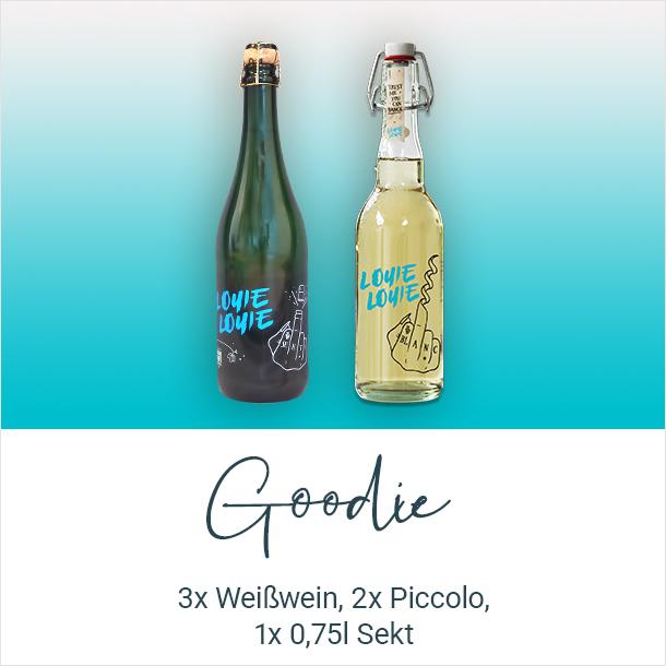 Goodie: 3x Weißwein, 2x Piccolo, 1x 0,75l Sekt von Louie Louie