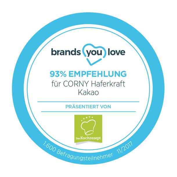 brands you love Siegel für CORNY Haferkraft Kakao