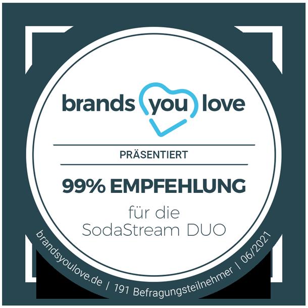 brands you love-Siegel 99% Empfehlung für die SodaStream DUO