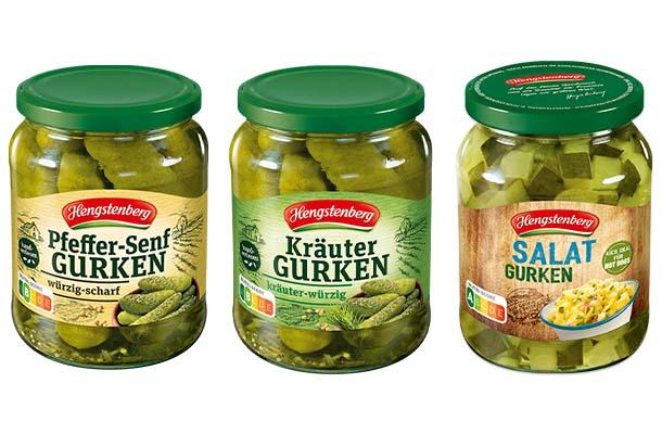 Pfeffer-Senf-Gurken, Kraeuter-Gurken und Salat-Gurken