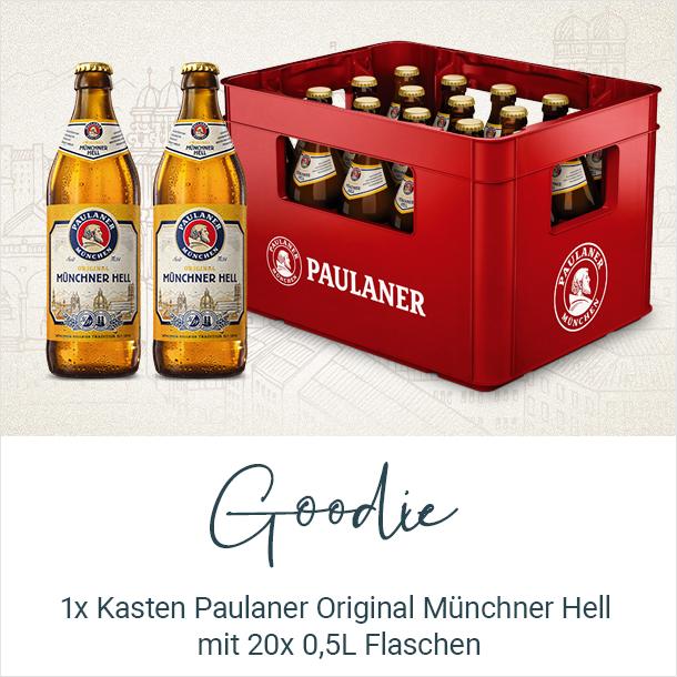 Goodie: ein Kasten Paulaner Original Münchner Hell mit 20x 0,5L Euro-Flaschen