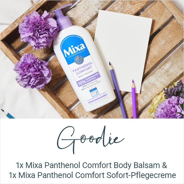Goodie: 1x Mixa Panthenol Comfort Body Balsam + 1x. Sofort-Pflegecreme